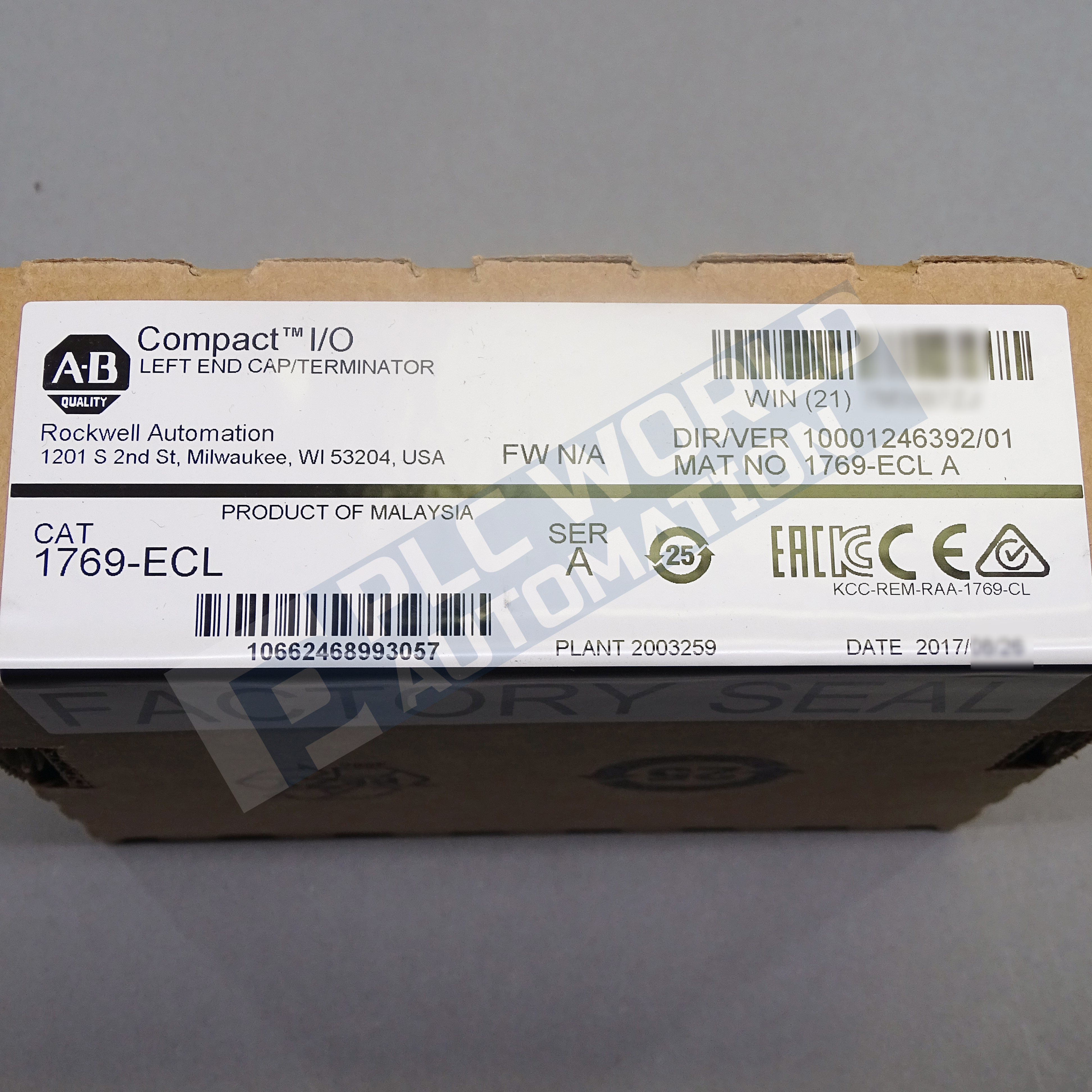 2017 New Factory Sealed Allen Bradley 1769 Ecl Series A Left End Cap Free Next Day Air